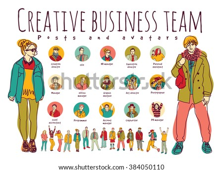 Creative business team posts and avatars icons. Every object is separated. Color vector illustration. EPS8