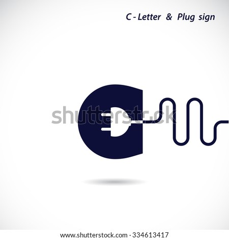Creative C Letter Icon Abstract Logo Design Vector Template With Electrical Plug Symbol Corporate