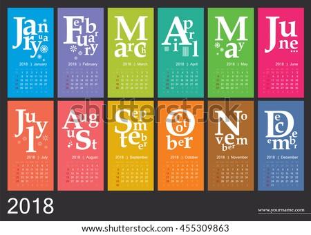 Creative Calendar 2018 Jazzy Concept Vector Stock Vector (2018