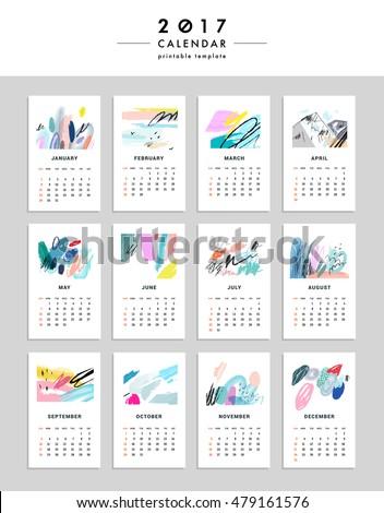 Creative Calendar 2017 Template Different Textures Stock Vector