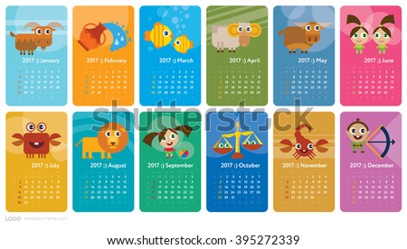 Creative Calendar 2017 Horoscope Signs Zodiac Stock Vector