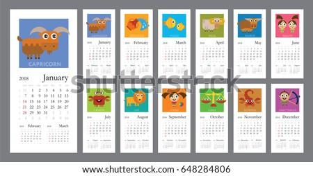 Creative Calendar 2018 Horoscope Signs Zodiac Stock Vector