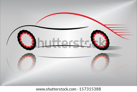 Creative car vector vector illustration. Outline of a sport vehicle in motion. Abstract black and red auto design on metallic background. - stock vector