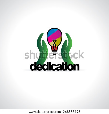 creative caring hand with bulb dedication concept  - stock vector