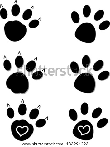 Creative cartoon design of dog and cat paws.
