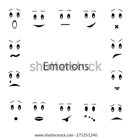 Creative cartoon style smiles with different emotions. Vector emotions set - stock vector