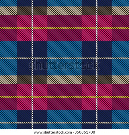 Creative checkered plaid palette. Seamless vector pattern with stripes and diagonal hatching. Retro textile collection. Purple, grey, blue with beige and yellow stripes. Backgrounds & textures shop. - stock vector