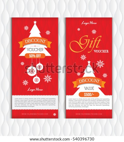 Red Christmas New Year Gift Voucher Stock Vector