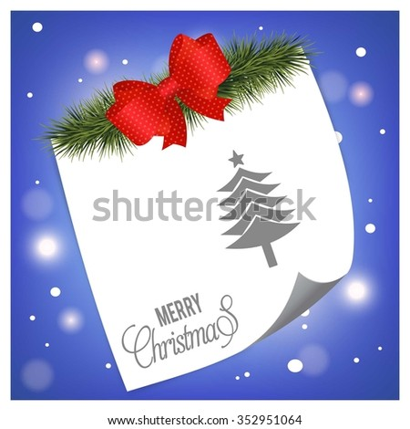 Creative Christmas tree Card. Christmas tree fir with ribbon bow and page curl on glossy Blue background
