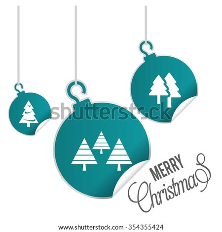 Creative Christmas tree Card. hanging balls with page curl effect set with Merry Christmas Creative typography isolated on white background