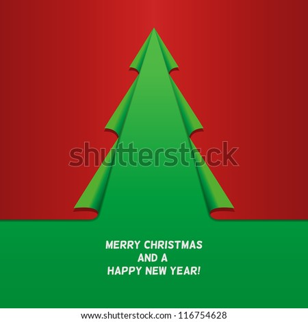 Creative Christmas tree, curled corner paper. Vector. Square