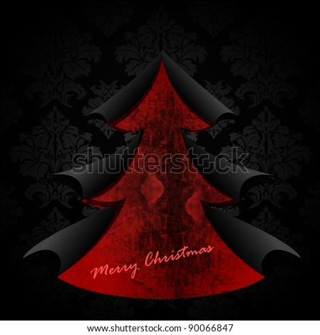 Creative Christmas tree formed from black torn paper. Vector Illustration. - stock vector