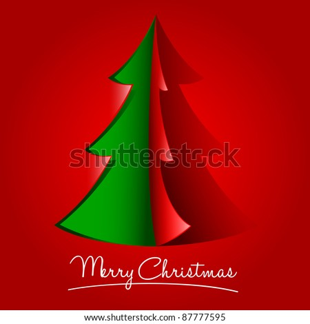Creative Christmas Tree Formed From Curled Corner Paper - stock vector