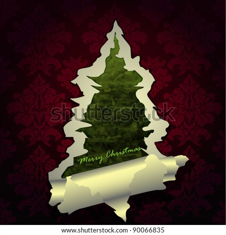 Creative Christmas tree formed from violet  torn paper. Vector Illustration. - stock vector