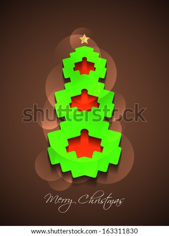 creative Christmas tree on elegant brown color background. vector illustration - stock vector