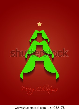 Creative Christmas tree on elegant red color background. vector illustration - stock vector