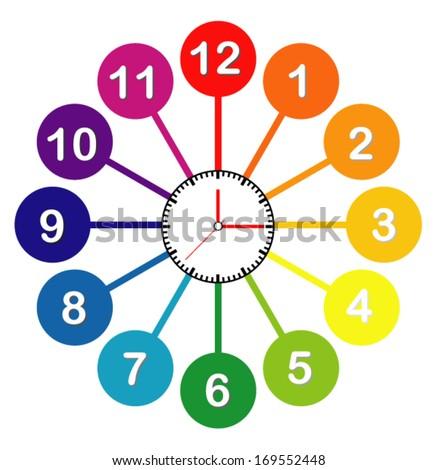 Creative clock design modern colorful. - stock vector