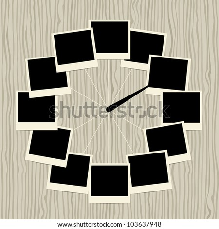 Creative clock design with photo frames - stock vector