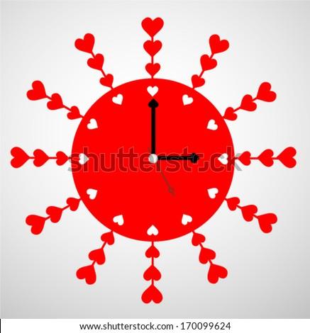 Creative clock heart design. - stock vector