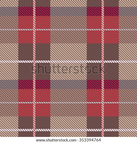 Creative color palette checkered plaid. Seamless pattern with stripes and diagonal hatching. Retro textile collection. Beige, brown, red with white stripes. Backgrounds & textures shop. - stock vector