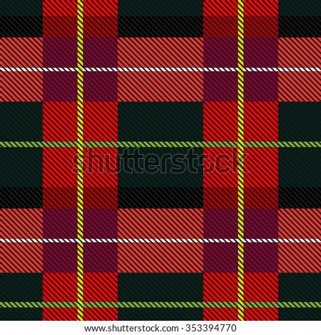 Creative color palette checkered plaid. Seamless pattern with stripes and diagonal hatching. Retro textile collection. Grey, red, purple with green and yellow stripes. Backgrounds & textures shop. - stock vector