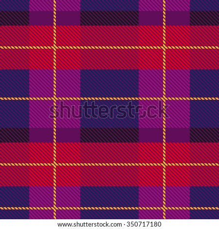 Creative color palette checkered plaid. Seamless vector pattern with stripes and diagonal hatching. Retro textile collection. Red, dark blue, purple with yellow stripes. Backgrounds & textures shop. - stock vector