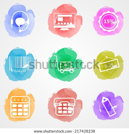 Creative colored vector icons for trade online. Set of colored watercolor stains vector icons with white contour elements for trade online on gray background. - stock vector