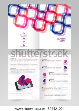 Creative colorful abstract design decorated, professional Business Brochure, Flyer, Banner or Template with smartphone. - stock vector