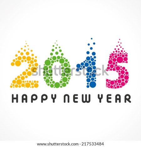 creative colorful circle pattern new year 2015 design vector - stock vector