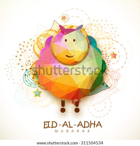 Creative colorful origami goat on floral design decorated background for Islamic Festival of Sacrifice, Eid-Al-Adha celebration. - stock vector