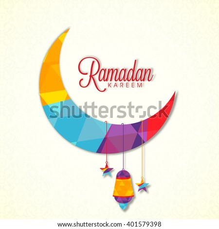 Creative colourful crescent moon with hanging stars and lamp for Holy Month of Muslim Community, Ramadan Kareem celebration.