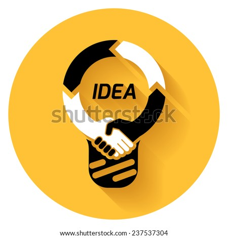 creative concept black white icon handshake. background for business and finance. idea, team,best deal, teame work. Flat vector design - stock vector