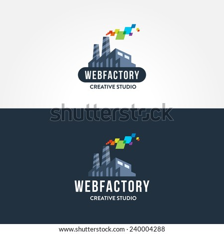 Creative concept for web studio iconic logo design | trendy flat vector icon illustration of factory | visual graphic representation of idea of internet media projects creation and development - stock vector