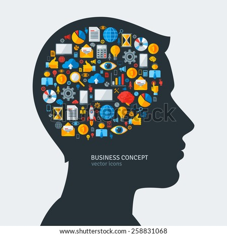 Creative concept of Business Development. Vector illustration. Man silhouette with Business icons and symbols in his head. Brainstorming process. Business Idea Generation.