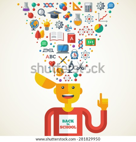 Creative Concept of Education. Vector Illustration. Boy with School Icons and Symbols in Head. Back to school. Learning Creative Process. - stock vector