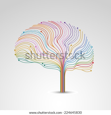 Creative concept of the brain, vector illustration - stock vector