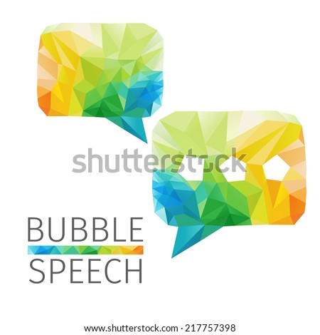 Creative concept of the bubble speech consists of colorful polygons, vector - stock vector