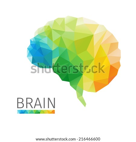 Creative concept of the human brain consists of colorful polygons, vector - stock vector