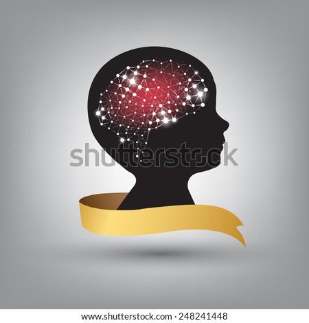 Creative concept of the human brain vector background - stock vector