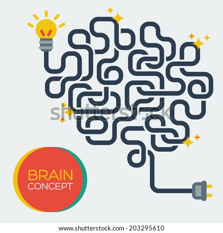 Creative concept of the human brain, vector illustration. Flat style. Education and science poster or banner. - stock vector