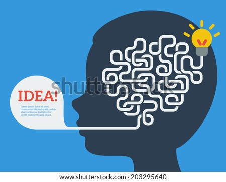 Creative concept of the human brain, vector illustration. Flat style. Education and science poster or banner. Man head with abstract brain inside.