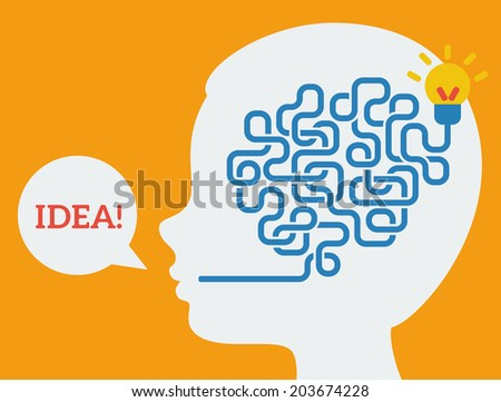 Creative concept of the human brain, vector illustration. Flat style. Education and science poster or banner. Man head with abstract brain inside. - stock vector