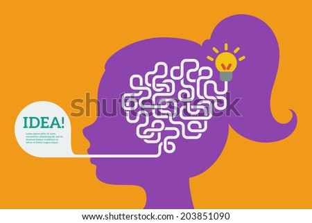 Creative concept of the human brain, vector illustration. Flat style. Education and science poster or banner. Woman head with abstract brain inside. - stock vector
