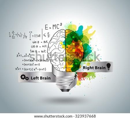 Creative concept of the human brain with light bulb ideas, Vector illustration modern design template - stock vector