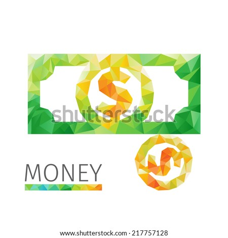 Creative concept of the money, dollar bill, coin consists of colorful polygons, vector - stock vector