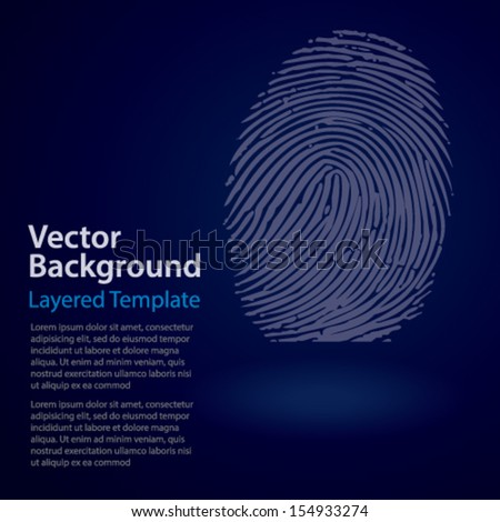Creative Concept Vector Background - Thumb / Finger Print Symbol on a dark BG with copy space for text. - stock vector