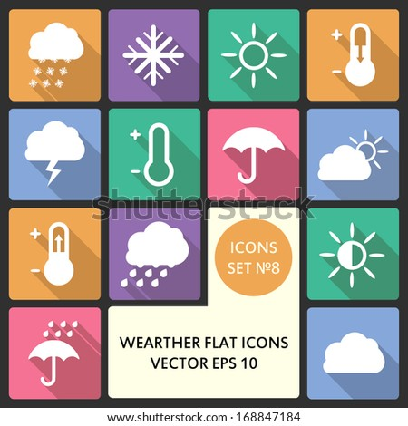 Creative concept vector Flat Icon Set of weather elements for Web and Mobile Applications - Set 8. Vector illustration creative template design, Business software and social media - stock vector