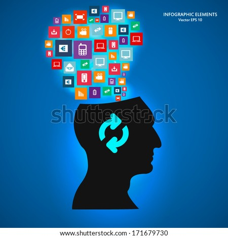 Creative concept vector silhouette with icon for Web and Mobile Applications isolated on background. Vector illustration, creative template design, Business software and social media.