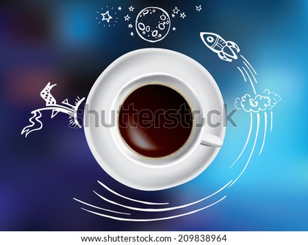 Creative concept with coffee and space doodles on blue background - stock vector