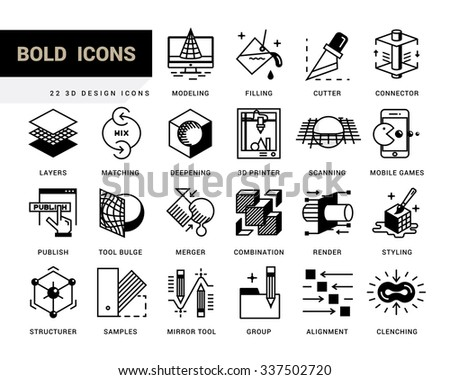 Creative contemporary icon set in a linear style. 3D design, working with objects, tools for 3D modeling, scanning and recognition of shapes, 3D printing, game design, polygonal modeling, rendering. - stock vector